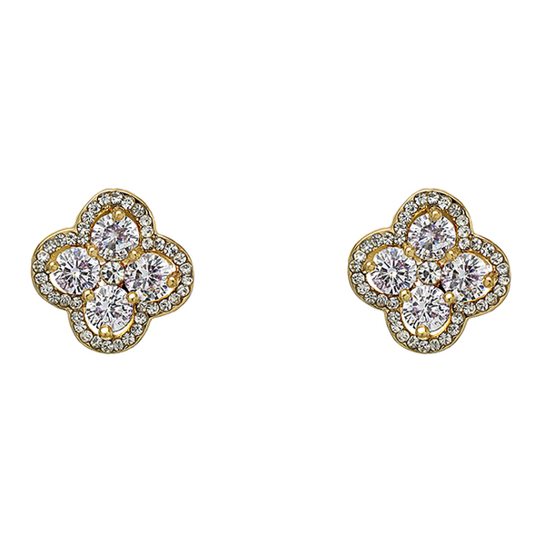 Gold Cubic Zirconia Studded Flower Earrings