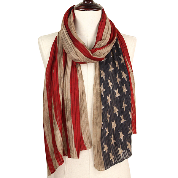 Pleated American Flag Scarf