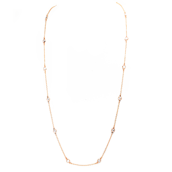Rose Gold and Clear Cubic Zirconia 5mm Stations Necklace
