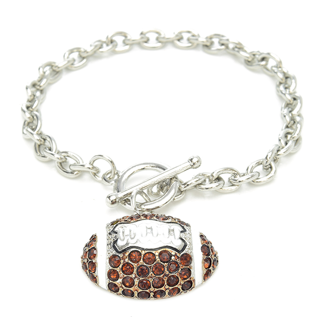 Silver Crystal Studded Football Bracelet