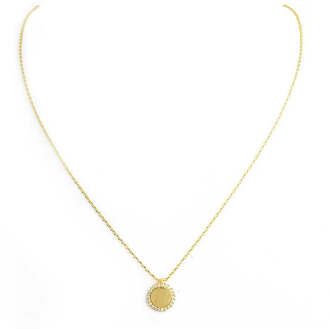 Brushed Gold and Cubic Zirconia Round Brass Pendant Necklace