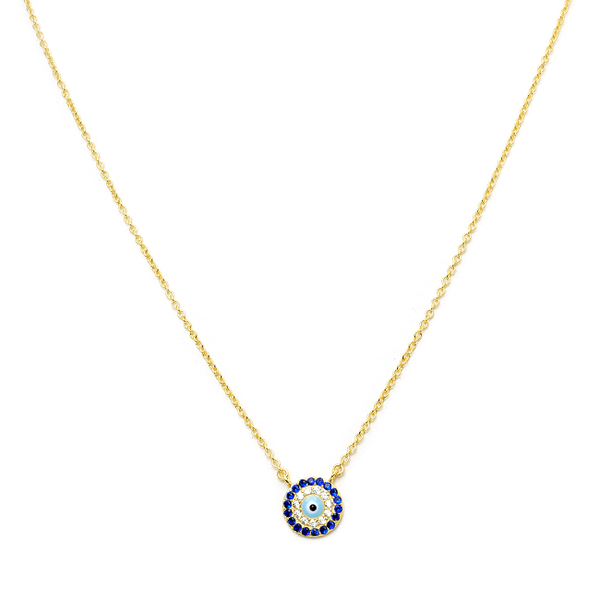 Sterling Silver Gold Plated Cubic Zirconia Evil Eye Pendant Necklace