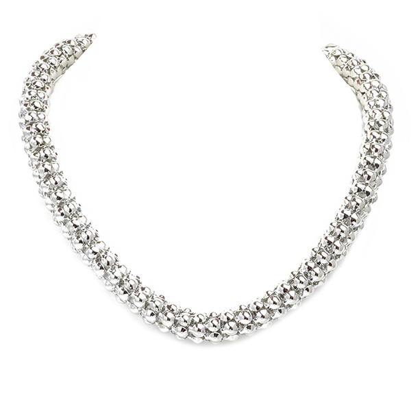 Silver Mesh Magnetic Clasp Necklace