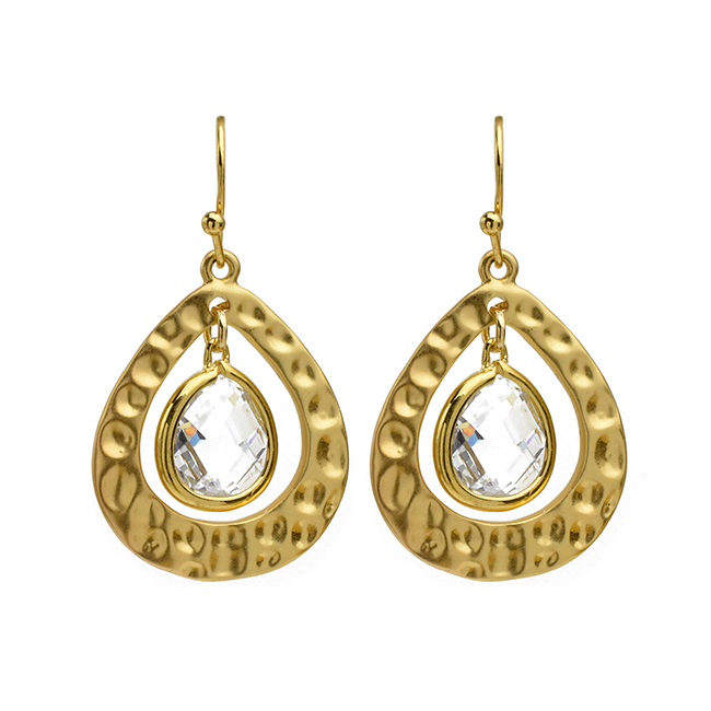 Gold Hammered Teardrop Cubic Zirconia Earrings