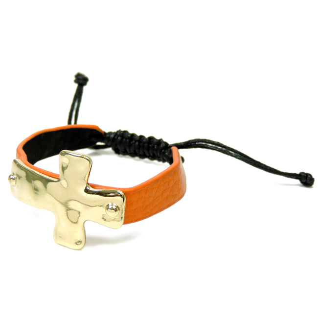 Orange Hammered Adjustable Bracelet with Gold Cross