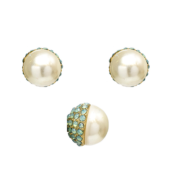 Pearl Post Earrings w/ Crystal;s