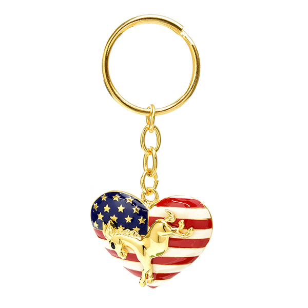 Red White and Blue Patriotic Heart Key Chain