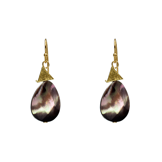 Abalone Teardrop Dangle Earrings with Gold Triangle