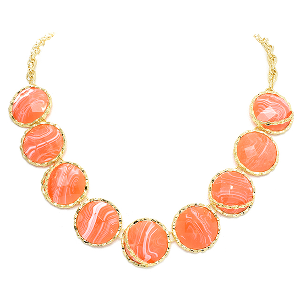 Gold Chain Necklace with Round Coral Stations