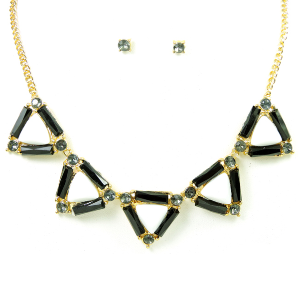Gold with Black/White Triangle Shape Station Necklace Set