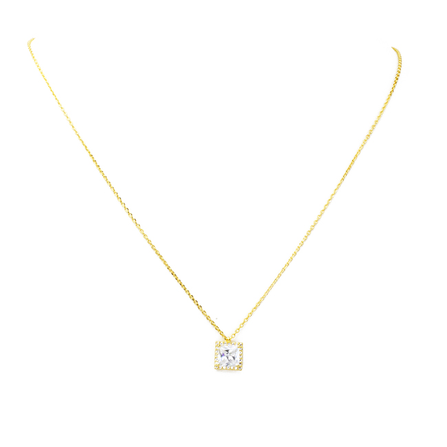 Gold Princess Cut Cubic Zirconia Pendant Necklace