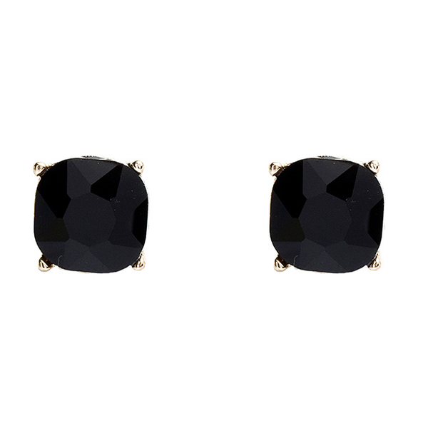 Gold Square Earrings with Jet Black Crystal