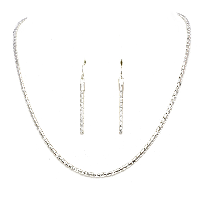 Silver Rope Chain Necklace Set