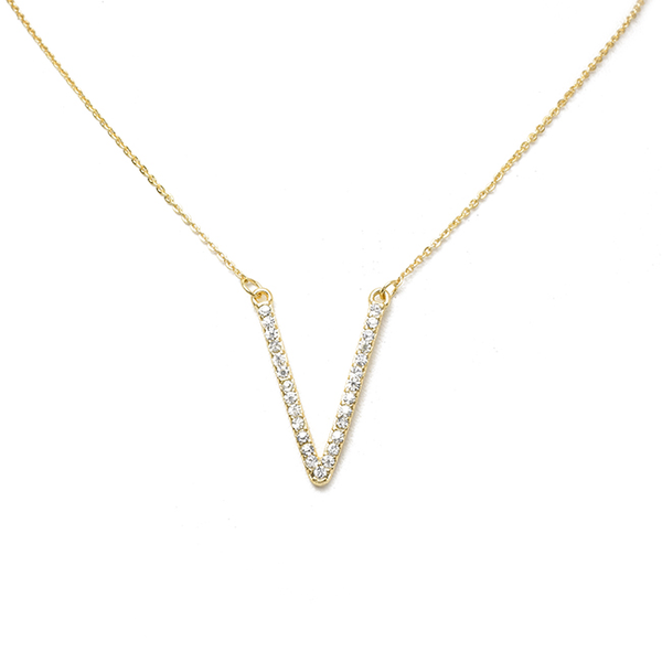 Gold Crystal V Shape Pendant Necklace
