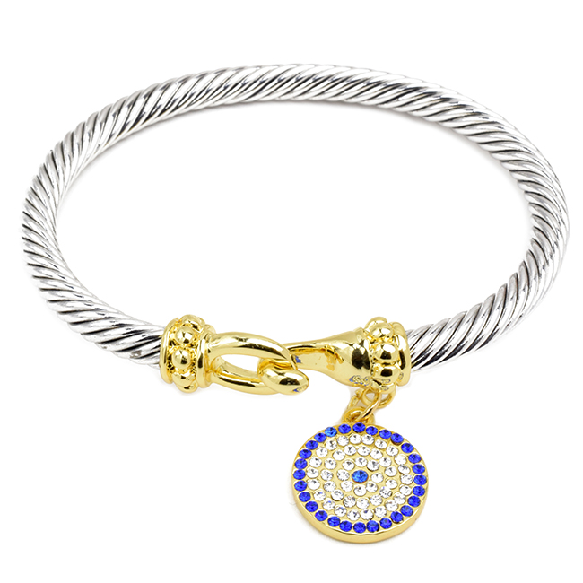 Twisted Cable Bracelet with Cubic Zirconia Evil Eye Charm