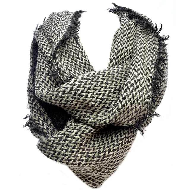 Black and Taupe Infinity Soft Scarf