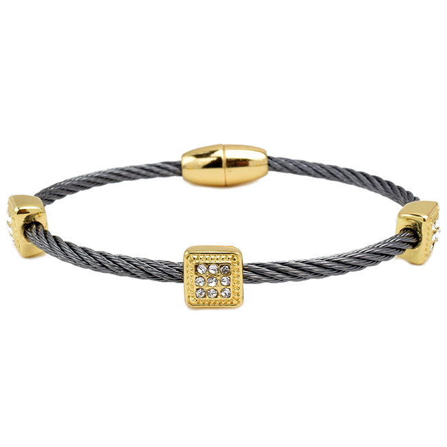Hematite Twisted Cable Magnetic Bracelet with Cubic Zirconia