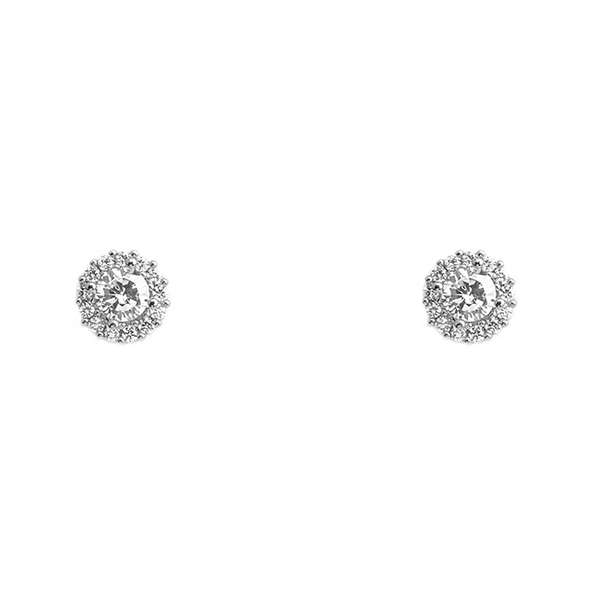 Silver Cubic Zirconia Brass Round Post Earrings