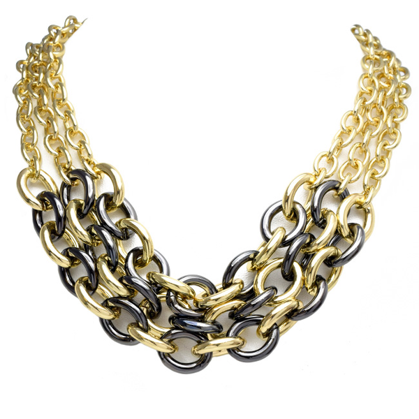 Multi Layer Two Tone Linked Chain Necklace