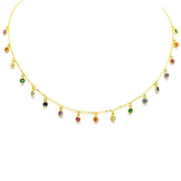 Sterling Silver Gold Plated Multi Color CZ Charm Necklace