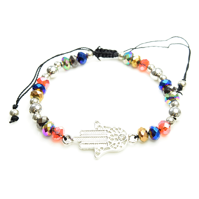 Multi Color Hamsa Adjustable Beaded Bracelet