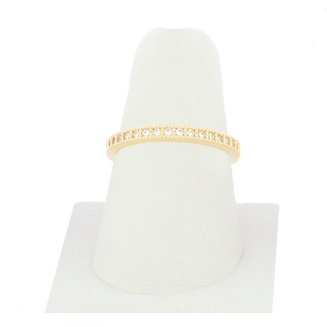 Gold Cubic Zirconia Studded Band Ring