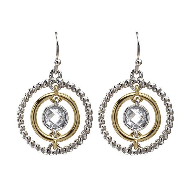 Two Tone Round Cubic Zirconia Dangle Earrings