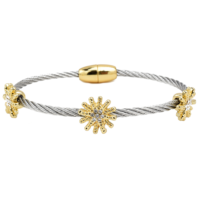 Silver Twisted Cable Magnetic Sunburst Bracelet with CZ