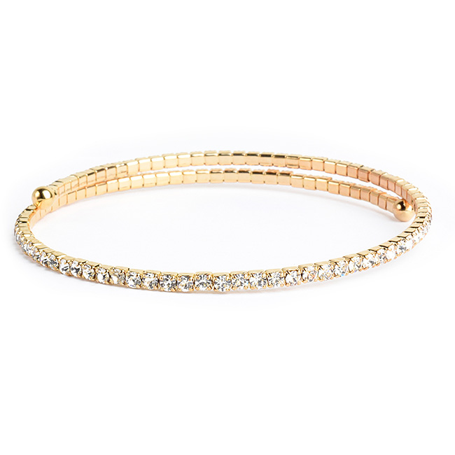 Thin Gold Crystal Studded Coil Bracelet