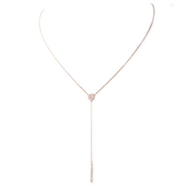 Rose Gold Cubic Zirconia Pave Bar Lariat Necklace
