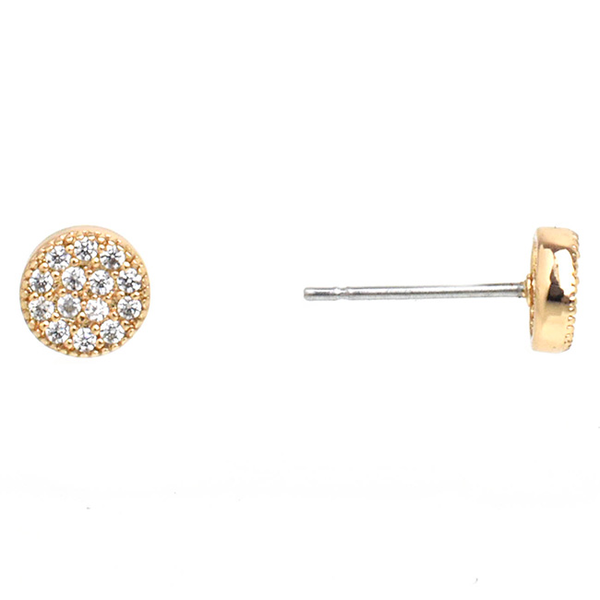 Small Gold Cubic Zirconia Pave Post Earrings