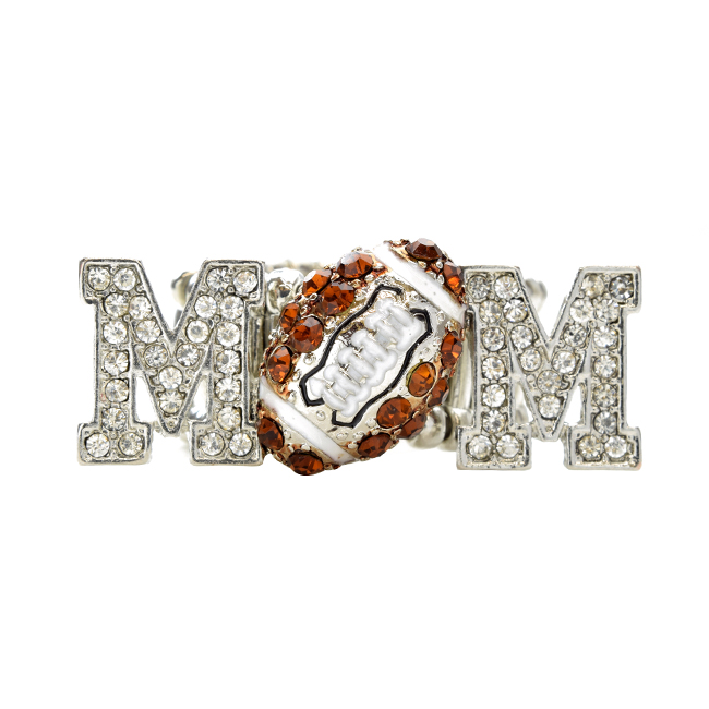 Football MOM Crystal Stretch Ring