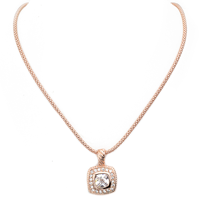 Rose Gold Square Cubic Zirconia Pave Pendant Necklace