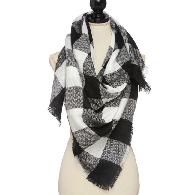 Gingham Check Square Scarf