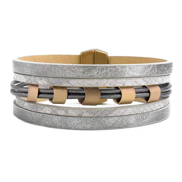 Metallic Grey Multi Strand Leather Bracelet with Gold Stations