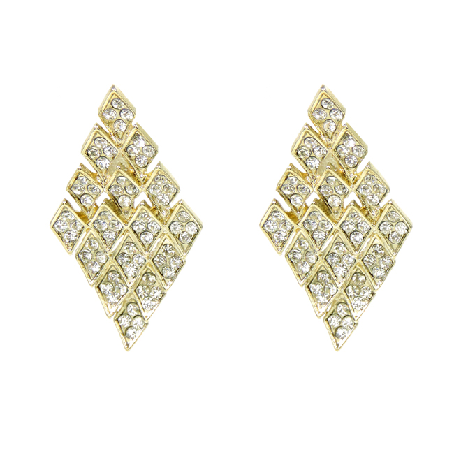 Gold Diamond Shape and Crystal Studded Post Earrings