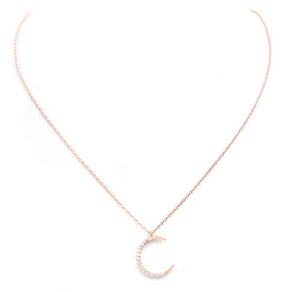 Rose Gold Cubic Zirconia Moon Pendant Necklace