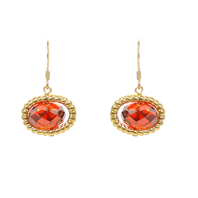 Oval Gold Hook Earrings with Red CZ