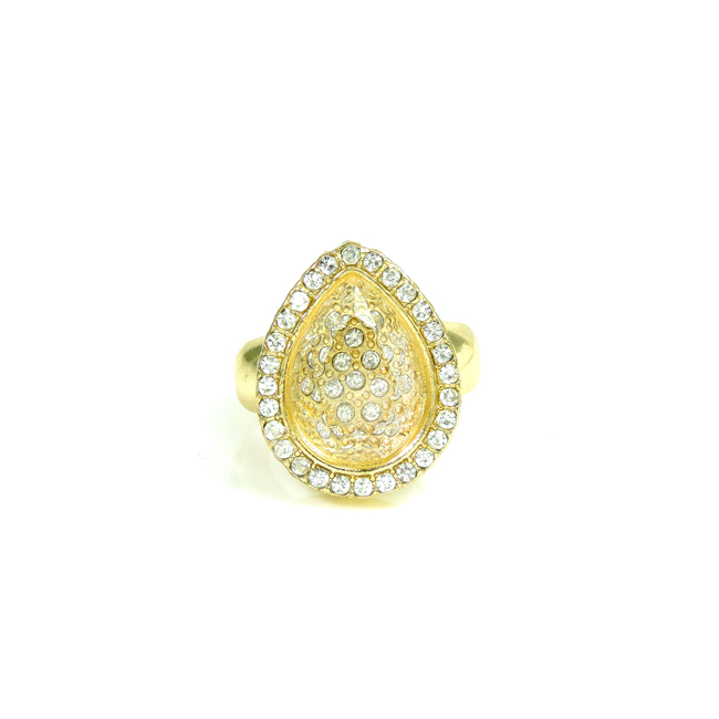 Gold Teardrop and Clear Crystal Stretch Ring