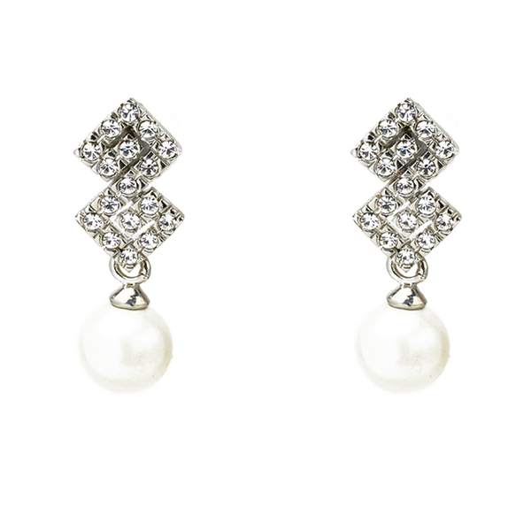 Pearl Dangle Earrings with Cubic Zirconia