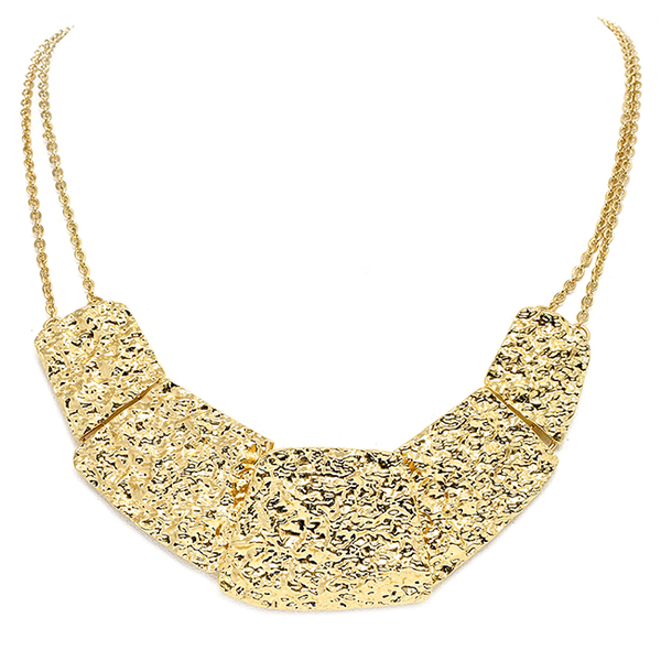 Gold Tone Curve Design with Texture Necklace