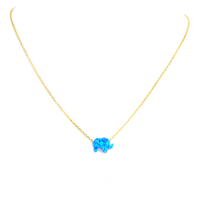 Sterling Silver Gold Plated Blue Opal Elephant Pendant Necklace