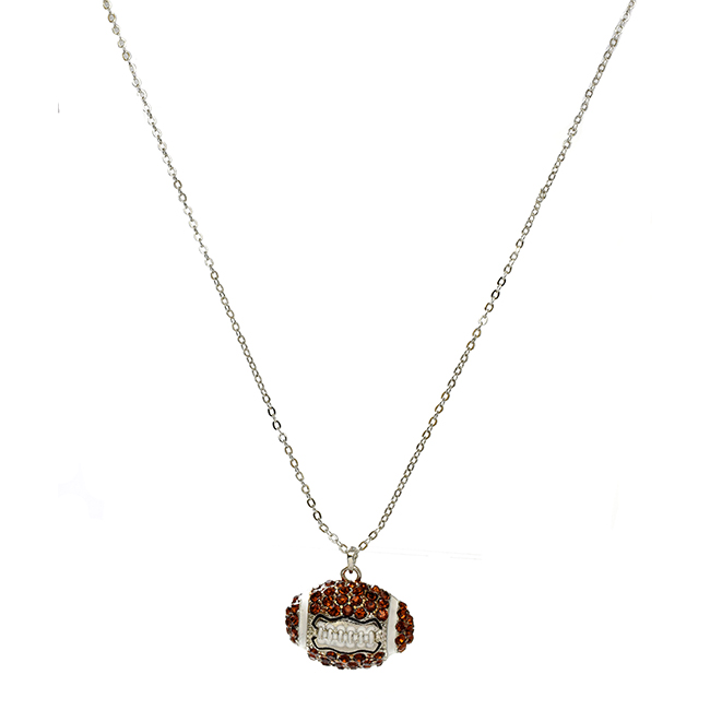 Football Crystal Studded Pendant Necklace