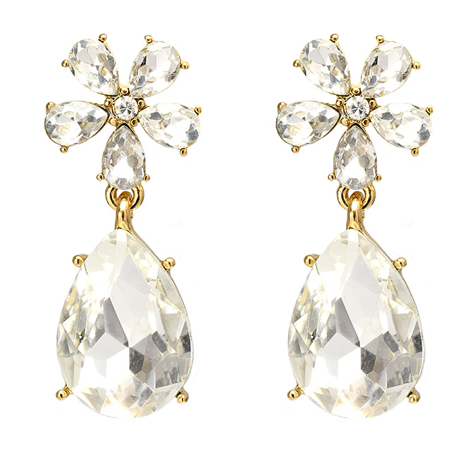 Clear Crystal Studded Gold Post Earrings