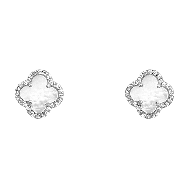 Sterling Silver Cubic Zirconia Clover Earrings with Mother Of Pearl