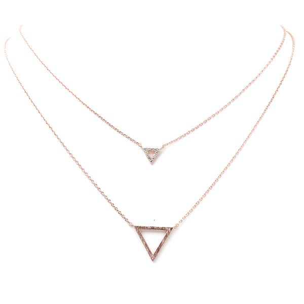 Rose Gold Layered Cubic Zirconia Open Triangle Pendant Necklace