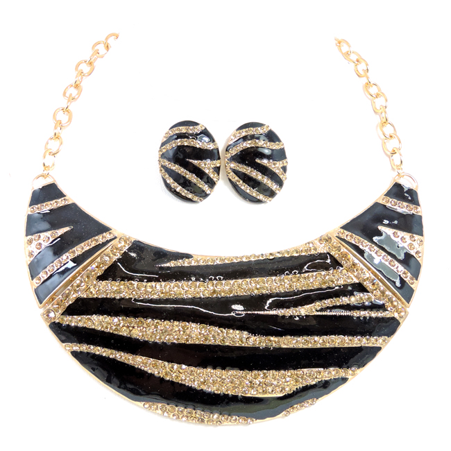 Zebra Print Crystal Studed Enamel Set In Gold