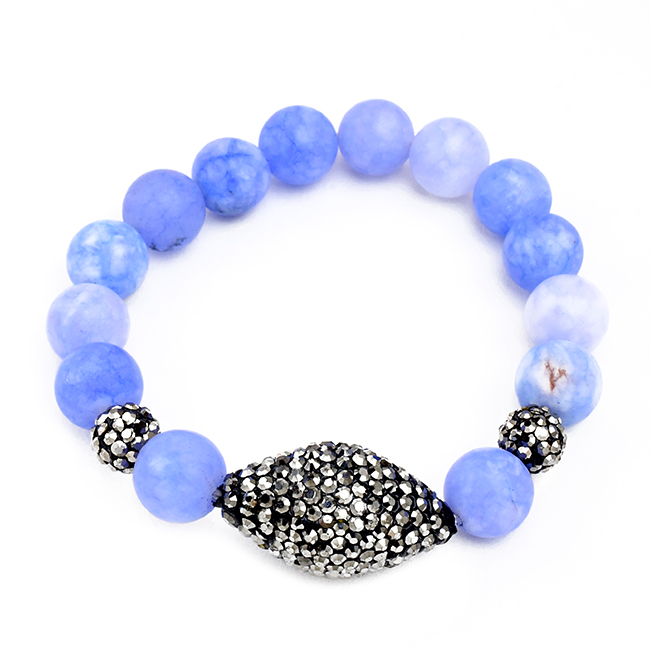 Semi Precious Beaded Stretch Bracelet with Crystals