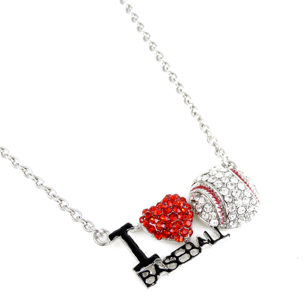 I Love Baseball Crystal Pendant Necklace