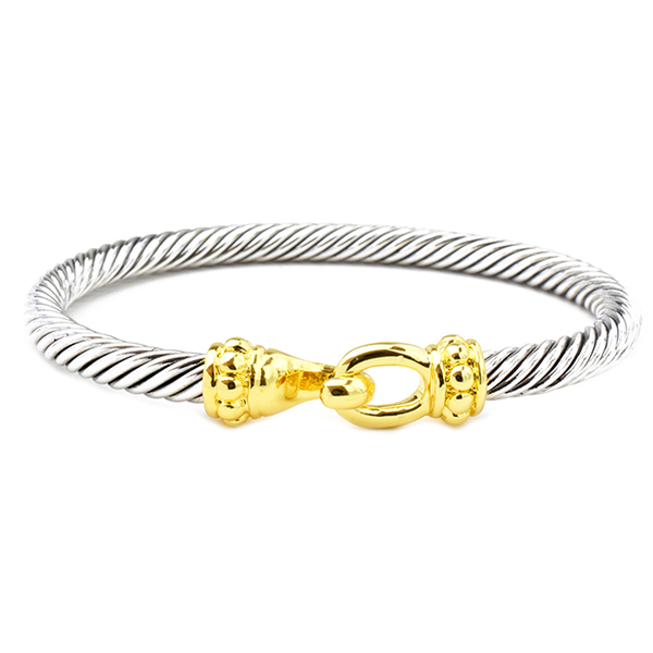 Two Tone Twisted Cable Bracelet with Easy Hook Clasp